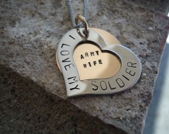 "Personalized ""I LOVE MY Soldier"" Heart Necklace with Inside Message - Mom Necklace - gift for her"