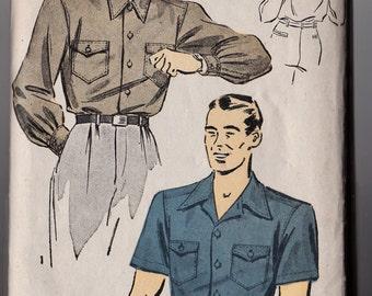 Du Barry Pattern 2734 B Mens Sport Shirt 1942 Uncut Medium 15-15 1/2 Tuck IN