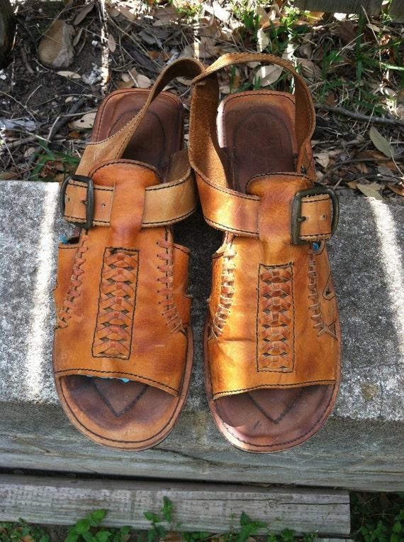 Vintage 1970s Brown Leather Rivet Tire Tread Hippy Sandals ... |Hippie Mens Leather Sandals