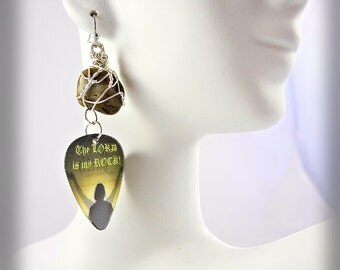 """Guitar Pick Earrings - Motion Animated  """"The Lord is My Rock"""" / Wire Wrapped River Rock - Unique Jewelry for a Unique You"""