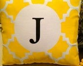 Small Hand Painted Yellow, Black and White Monogrammed Latice Pillow or Pillow Cover - Available in Other Colors