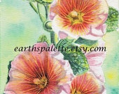 Pink hollyhock flower painting 5x7 print from original watercolor painting floral paintings home and garden wall art  Earthspalette