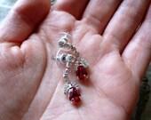 Art Deco Earrings - Ruby Rhinestone Earrings - Vintage Rhinestone Earrings  - Pear Rhinestone - Bridal - Prom - Wedding