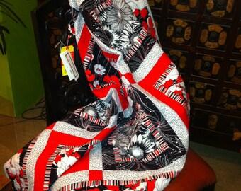 Modern Red, Black & White Floral Fantasy Lap Quilt