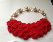 Red Valentine Felt Bib Necklace, Felt flower , Statement Necklace, Rosette Necklace, Bib Necklace, Felt Necklace, Felt Jewelry