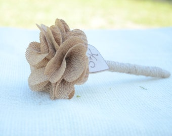 Personalized wedding guest book pen with burlap flower