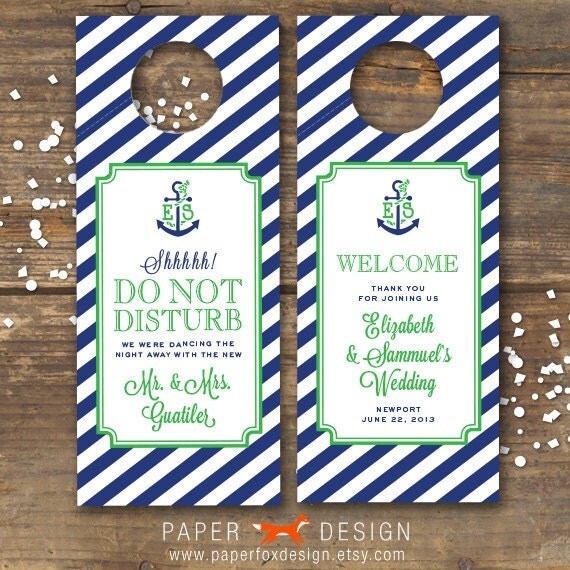 Wedding Door Hanger Printable Nautical Anchor Monogram