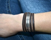 Leather multi wrap bracelet with inspirational saying on metal plate