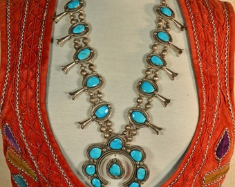 Vintage 70s Navajo Sterling Silver Turquoise Squash Blossom Necklace/Old Pawn Native American Silver Necklace/18 Turquoise Stones 196 Grams