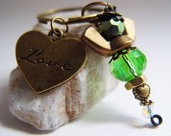 "Kelly Green iridescent Beaded Antique Bronze Wingnut ""Love"" Heart Angel Charm Keychain"