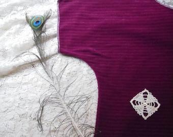 Magenta Batwing Crop Shirt/ Funky Half Shirt Blouse Womens Tops Terry Cloth