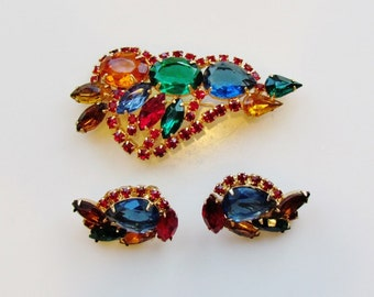 """Vintage brooch and earrings, c.1960's """"fruit salad"""" large size pin and earrings, demi parure"""