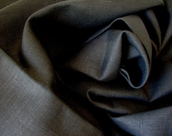 Black Linen Solid Fabric--Dyed Thick Linen Tissue--NO FINISHING--DIY Projects