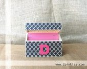 Recipe Box - Wood Recipe Box, Navy and Pink, Quatrefoil, holds 4x6 Recipe Cards