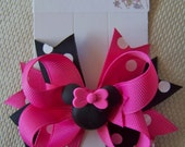 Pink Minnie Mouse Inspired Hair Bow- Pink, Black, and White Bow with Mouse Center- Birthday Party