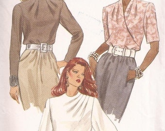 90's Sewing Pattern - Vogue 8539 Collarless blouse high neckline Size 6-10 Factory folded and complete