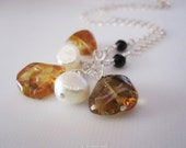 Sunstone and white pearl sterling silver chain necklace