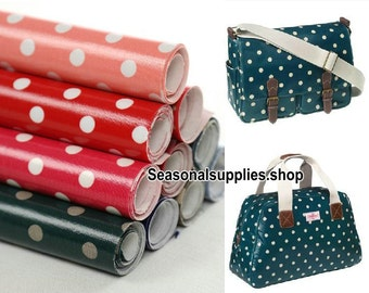 Waterproof  fabric,Tarpaulin Fabric,Craft, Polka Dotted 14mm and 4mm,10 Kinds For Choice,DIY Bag  A Fat Quarter Yard (QT133)