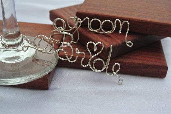 Bride Groom Wine Glass Charms, Wedding Reception Decor