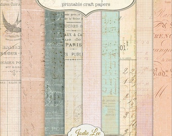 French Letters 9 Printable Scrapbook Papers Set by Jodie Lee . . . Instant Download and Print