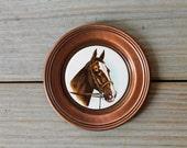 Vintage German wall plate / ceramic / copper / classic horse / equestrian gift / rustic retro home decor / cabin decor / collectible