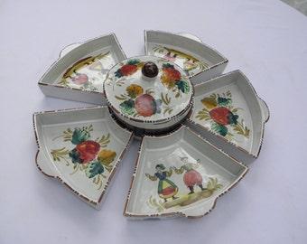 Vintage Italian C.1960's  Sberna Deruta  Six(6) Piece Serving Dishs w/ Lidded Bowl,Folk Art Peasants, Relish Tray, Nut Dish