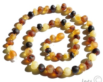 Raw Unpolished Baltic Amber Necklace Rounded Multicolor Beads. For Adults