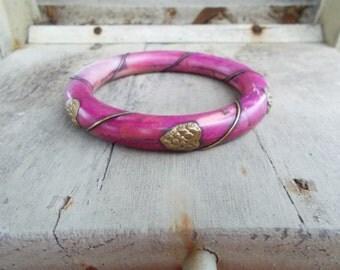 Heart African or Tibetan Bone and Brass Bangle Bracelet
