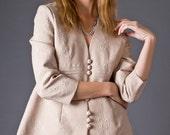 SALE 50% OFF 80s Vintage Floral Brocade Jacket in Nude