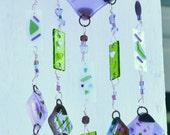 Windchime Suncatcher in Purple, Pink, Green, White Fused Glass - LyonPondStudio