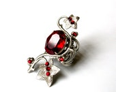 Red Swarovski Ring - Statement Ring Silver Ring Gothic Ring - Floral Ring - Large Ring - Women Fantasy Ring  - Gothic Jewelry