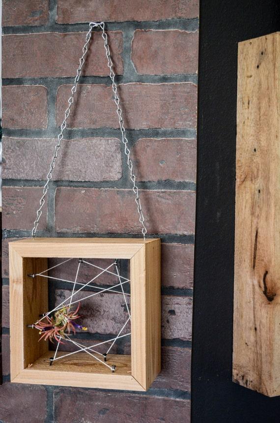 Air Plant Rustic Reclaimed Recycled salvaged wood hanging holder . Vase, wall decor, geometric design, terrarium wedding birthday gift