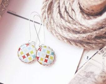 Colorful carnival earrings, white earrings, colorful earrings, geometric jewelry, pastel earring, retro jewelry, bridal party