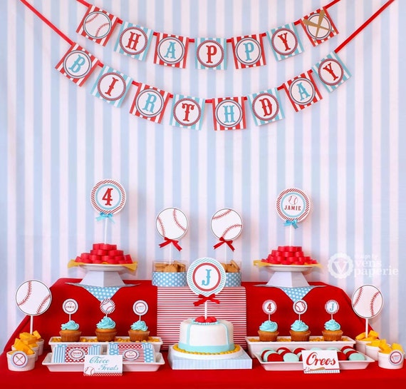 Sport Baseball Birthday Party Package Personalized FULL Collection Set  - PRINTABLE DIY - PS804CA1x