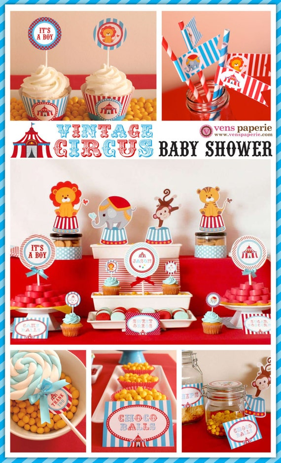 vintage blue carnival circus baby shower package personalized full