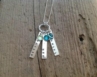 Personalized Jewelry Mom's Necklace Three Kids birthstone pendant Triplets