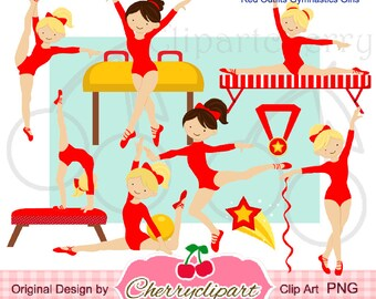 Red Outfits Gymnastics Girls Digital Clipart  Set  for -Personal and Commercial Use-paper crafts,card making,scrapbooking,web design