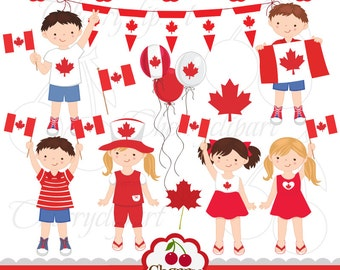Canadian kids-Canada Day digital clipart set for-Personal and Commercial Use