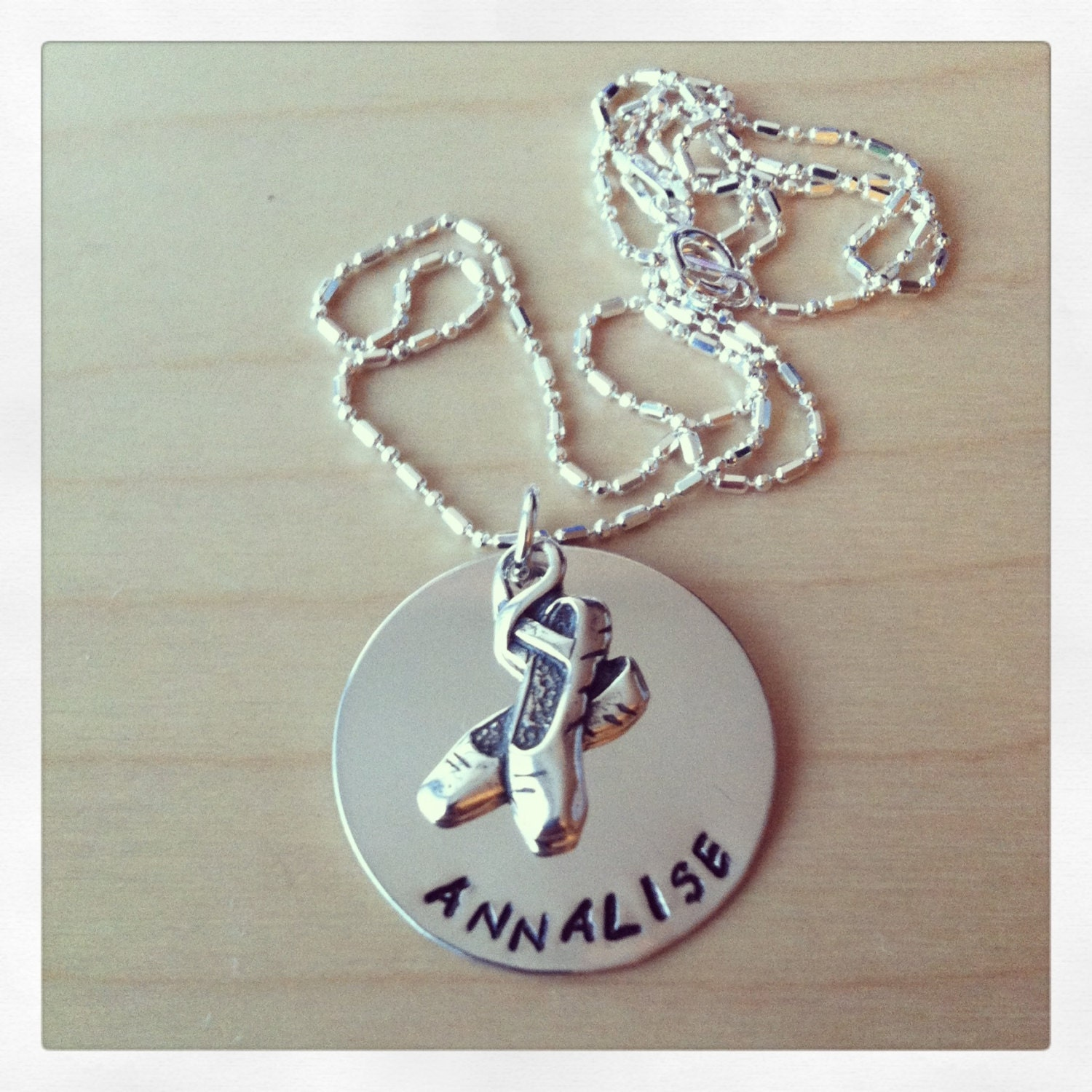 Ballet Necklace: Sterling Silver, Hand Stamped, and Personalized