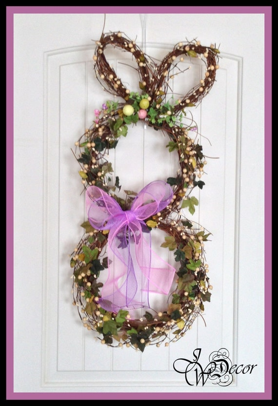 Bunny Wreath Easter Wreath Door Wreath Wreaths Spring
