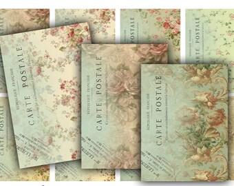 Digital Images - Digital Collage Sheet Download - Floral Carte Postale Tags -  400  - Digital Paper - Instant Download Printables