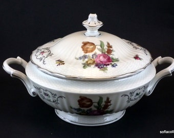 Epiag - Springer and Co. Covered Serving Bowl / Covered Vegetable Bowl with Platinum Trim - Vintage 1920s 1930s Bohemian China