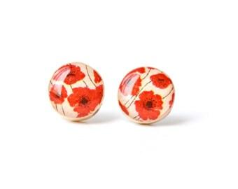 Red poppy studs post earrings summer outdoors red earrings wood earrings eco friendly jewelry earrings wood earrings spring jewelry for her