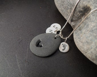 Sea glass jewelry, Beach stone jewelry, Personalized mothers necklace with carved heart beach stone and baby footprint charm