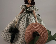 Scarlett O'Hara in Barbecue Dress, 1 inch Scale Dollhouse Miniature Porcelain Doll