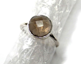 925 Sterling Silver Smoky Quartz Ring , Fine Quality Chekker cut Faceted Round Shape gem stone Hand made Ring