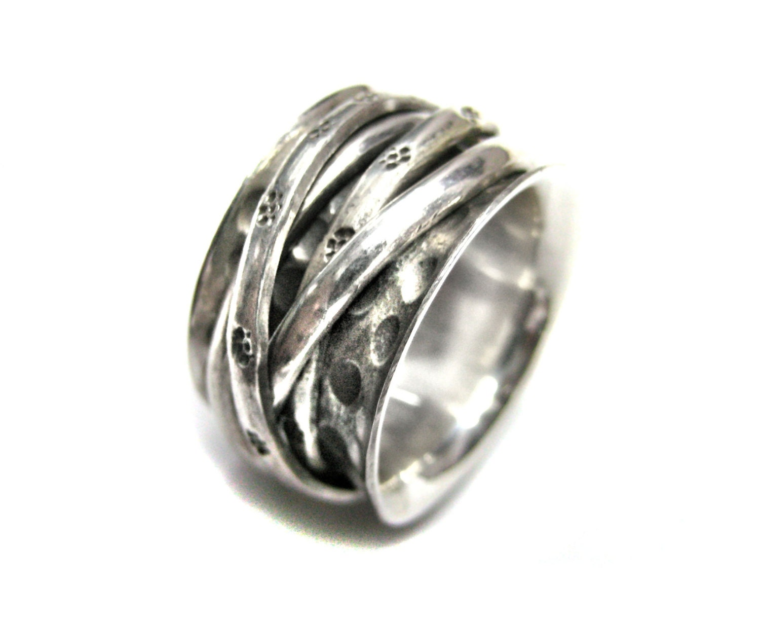 925 sterling silver hammered thumb ring free moving 4