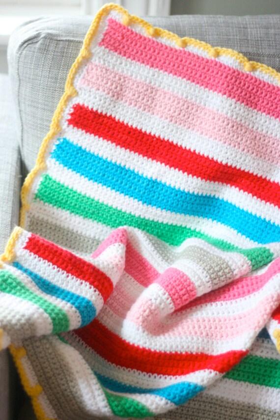 Items similar to Easy Crochet Striped Baby Blanket Pattern ...