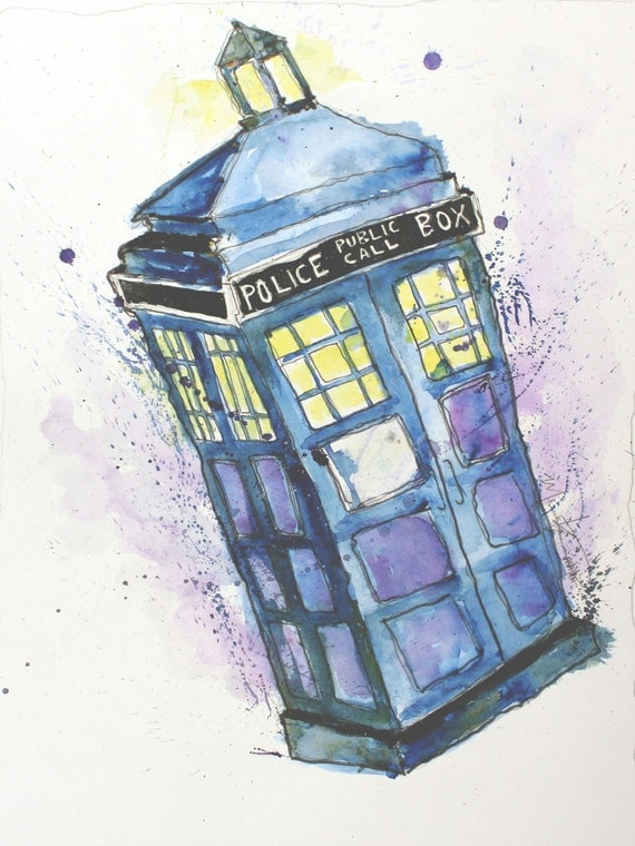 Items Similar To Doctor Who Tardis Watercolor Illustration