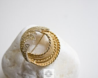 BSK Brooch - Silver and Gold tone